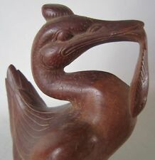 Vintage Art Deco Wood Carving BIRD w/ FISH Bali INDONESIA