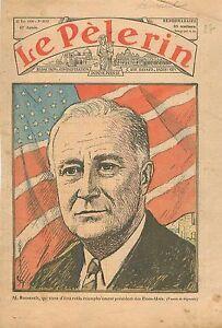Portrait-Franklin-Delano-Roosevelt-President-des-Etats-Unis-Flag-USA-1936