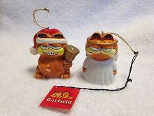 2 Enesco Garfield Christmas Ornaments 1978 - Angel & Santa w/ Bell