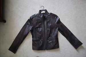 1f214261a Dark Brown Leather KENNETH COLE REACTION Lined Jacket w Decorative ...