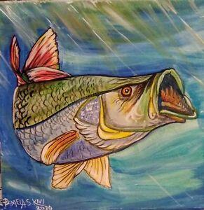 SNOOK-FISH-ART-Original-Acrylic-Painting-12-034-x-12-034-Pamela-Kivi-OOAK