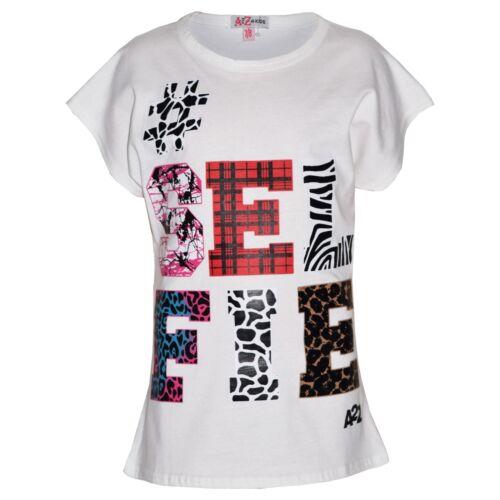 Kids Girls Tops Selfie Print Trendy White T Shirt Top /& Fashion Legging Set 7-13