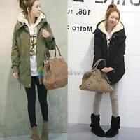 BW#A New Women Zip Hooded Parka Thicken Fleece Warm Winter Coat Overcoat Long J