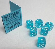"DICE 12mm CHX TL TEAL w/WHITE PIPS - SET OF SIX! SMALL SIZE, ""FEEL THE TEAL!"""