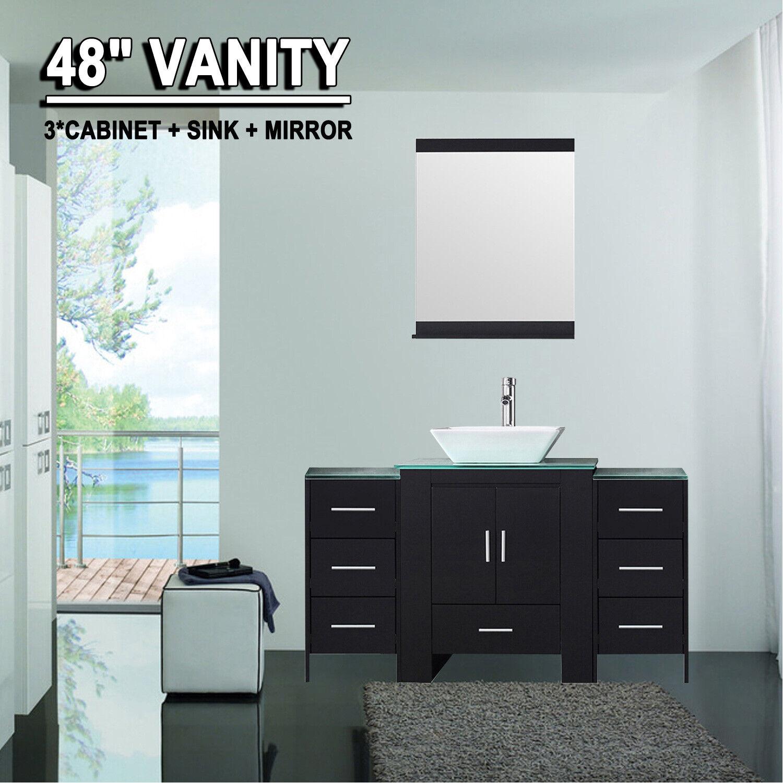 48 Bathroom Vanity Cabinet Sink Faucet Mirror Glass Top Modern Black Wood For Sale Online