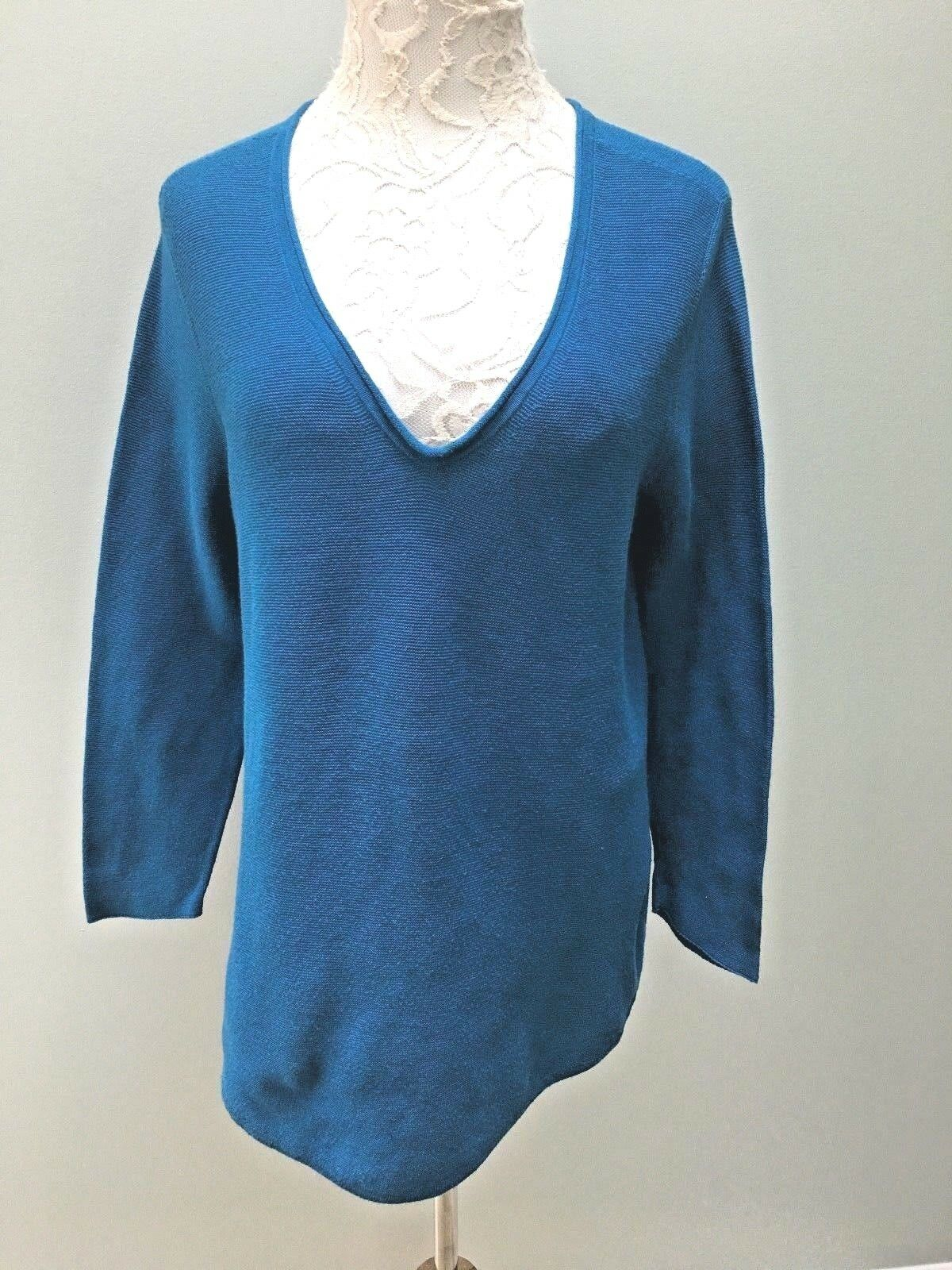 Eileen Fisher Sweater   bluee Tunic Large Organic Cotton Peruvian