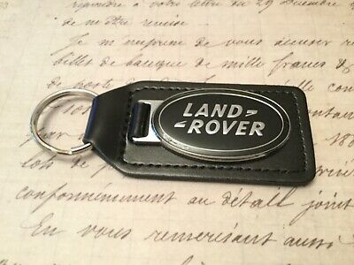 LAND  ROVER BLACK LEATHER KEY RING FOB HEAVY STYLE GREEN INFILL DISCOVERY SILVER