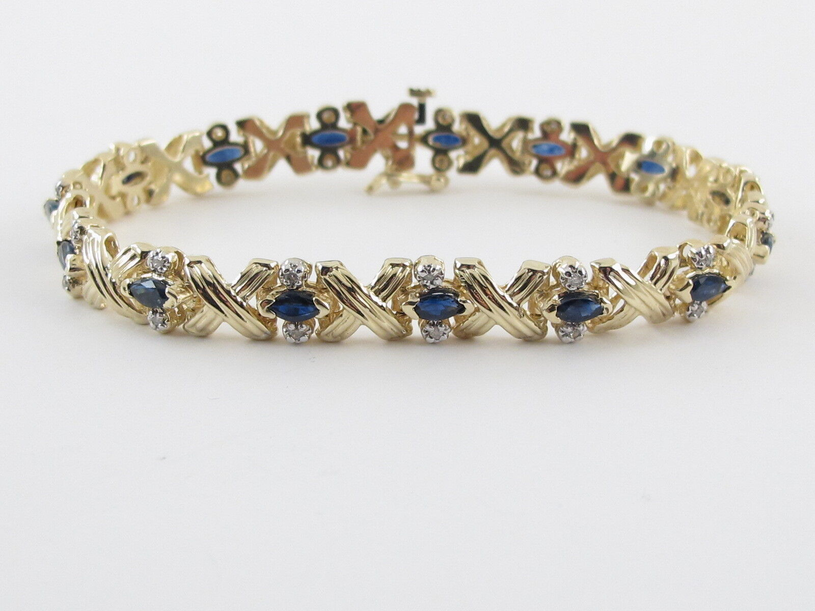 14k Yellow gold Diamond And Sapphire Tennis Bracelet 7   2.00 carats