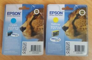Genuine Epson T0712 Cyan and T0714 Yellow Ink Cartridges