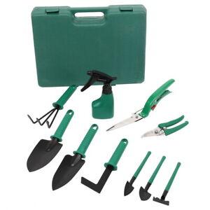 10Pc Garden Tools Set Heavy Duty Gardening Hand Tool Kit with Storage Case Green