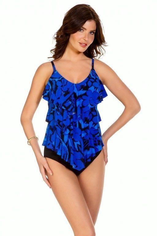 New Magicsuit Miraclesuit Tankini Rita 10 40 bluee Jasmine Tiered Ruffled 2 PC