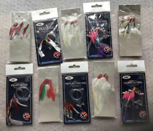 10 X  Mixed Packs Bass Mackerel Feathers  Lures Sea Fishing Rigs NGT