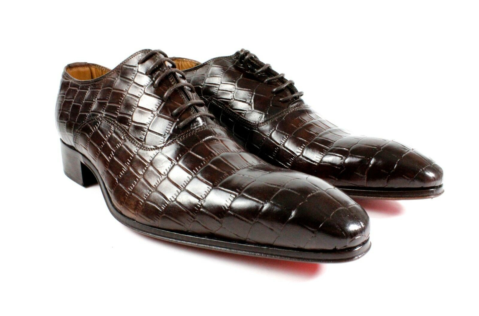 IVAN TROY Brown Crocodile  Handmade Men Italian Leather Dress shoes Oxford shoes