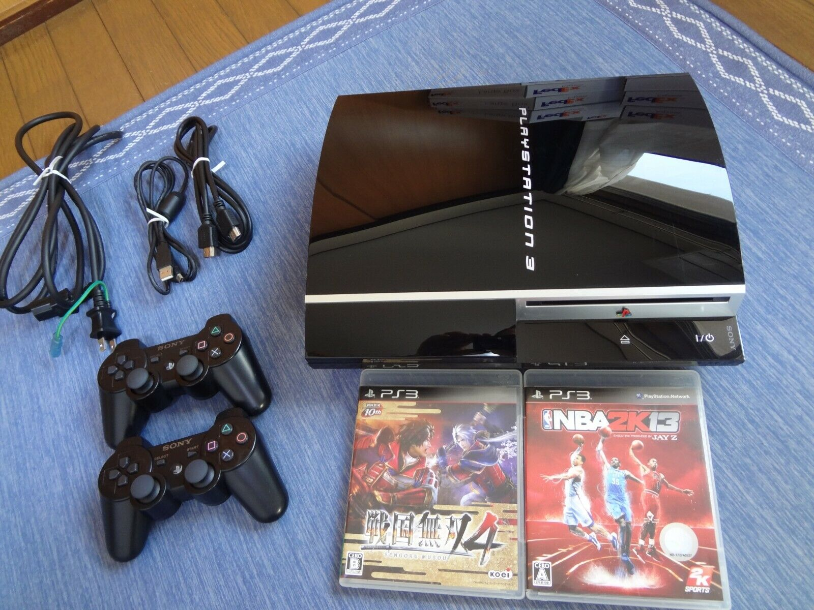 SONY Playstation 3 PS3 sony black Console 2controller 2gamesofts set TestedWork