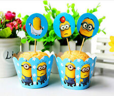 12x DESPICABLE ME MINIONS Brithday Party Cupcake Cake Wrapper & Toppers *NEW