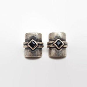 Silver-Tone-And-Black-Glass-Stone-Earrings