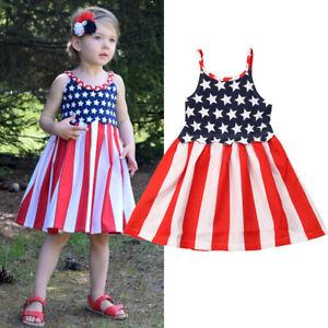 NEW-4th-of-July-Patriotic-Stars-amp-Stripes-Girls-Sleeveless-Americana-Dress