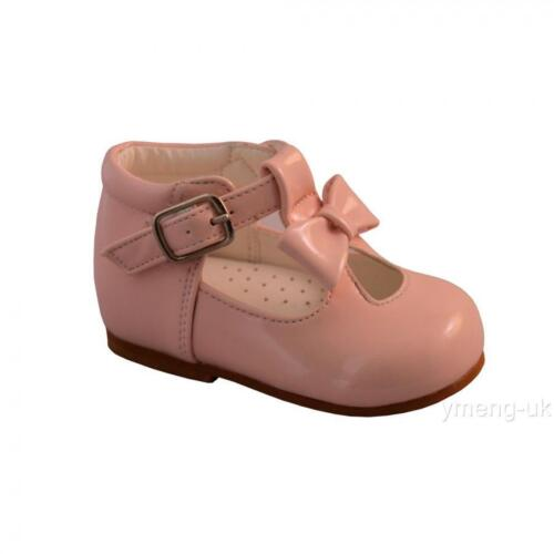 Sevva Infant Baby Girl/'s Spanish Patent Walking Shoes T Bar//Big Bow//Pink//White