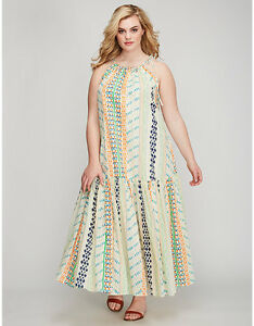 Details about NEW LANE BRYANT PLUS SIZE INDIA PRINT PRINTED TIERED MAXI  DRESS SZ 22/24
