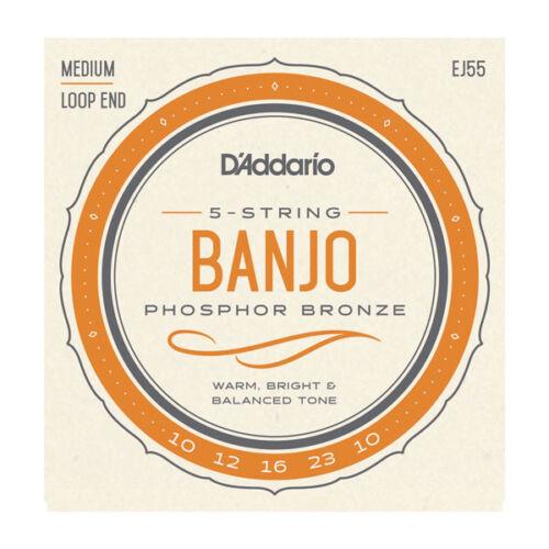 D/'Addario EJ55 5-String Phosphor Bronze Banjo strings Loop End 10-23 gauge