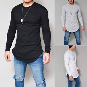 Hauts T-shirt Hommes Slim Fit à Manches Longues Chemises Solide O-cou Mode S-3XL