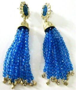 4-5-034-Inch-HUGE-Blue-Crystal-Resin-Diamante-Tassel-Runway-Earrings