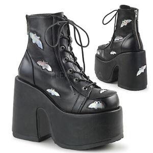 d80db4381a05 Demonia Camel-201 Black   Silver Bat Platform Heel Boots - Gothic ...
