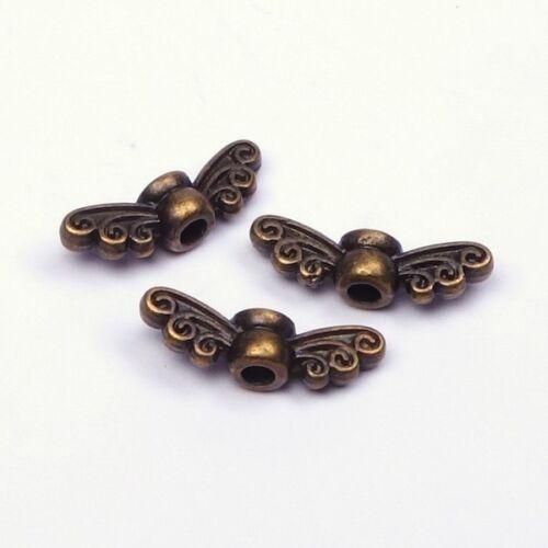 Metall Flügel Perlen Schmetterling Fee Engel Basteln Bronze Engelsflügel 14x4mm
