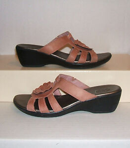 CLARKS-Bendables-Women-039-s-Coral-Leather-Wedge-Dress-Slides-Sandals-Size-7-5-M