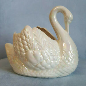 Vintage-White-Iridescent-Holland-Mold-Art-Pottery-Swan-Planter-8-034-x-6-034-Inches
