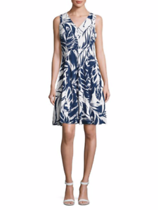 IVANKA TRUMP Navy & Weiß Bold Leaf Printed A-Line Dress ( Sz - 14 ) NWT
