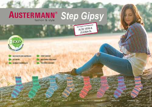 € 7,25//100g austermann Step Gipsy calcetines lana 8x 100g 4-fädig surtido paquete