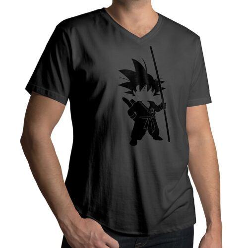 Anime Goku Silhouette Awesome Cool Funny Japanese Mens V-Neck Tee T-Shirt