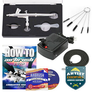 Starter-Airbrush-Kit-Dual-Action-Gravity-Feed-Air-Compressor-Crafts-Art