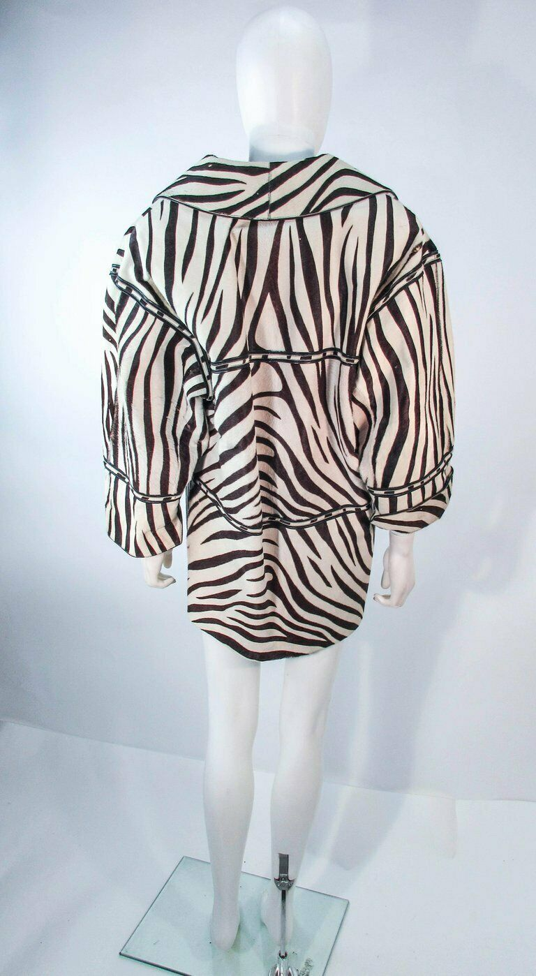 AMEN WARDY Zebra Pattern Cowhide Coat Size 4-8 - image 6