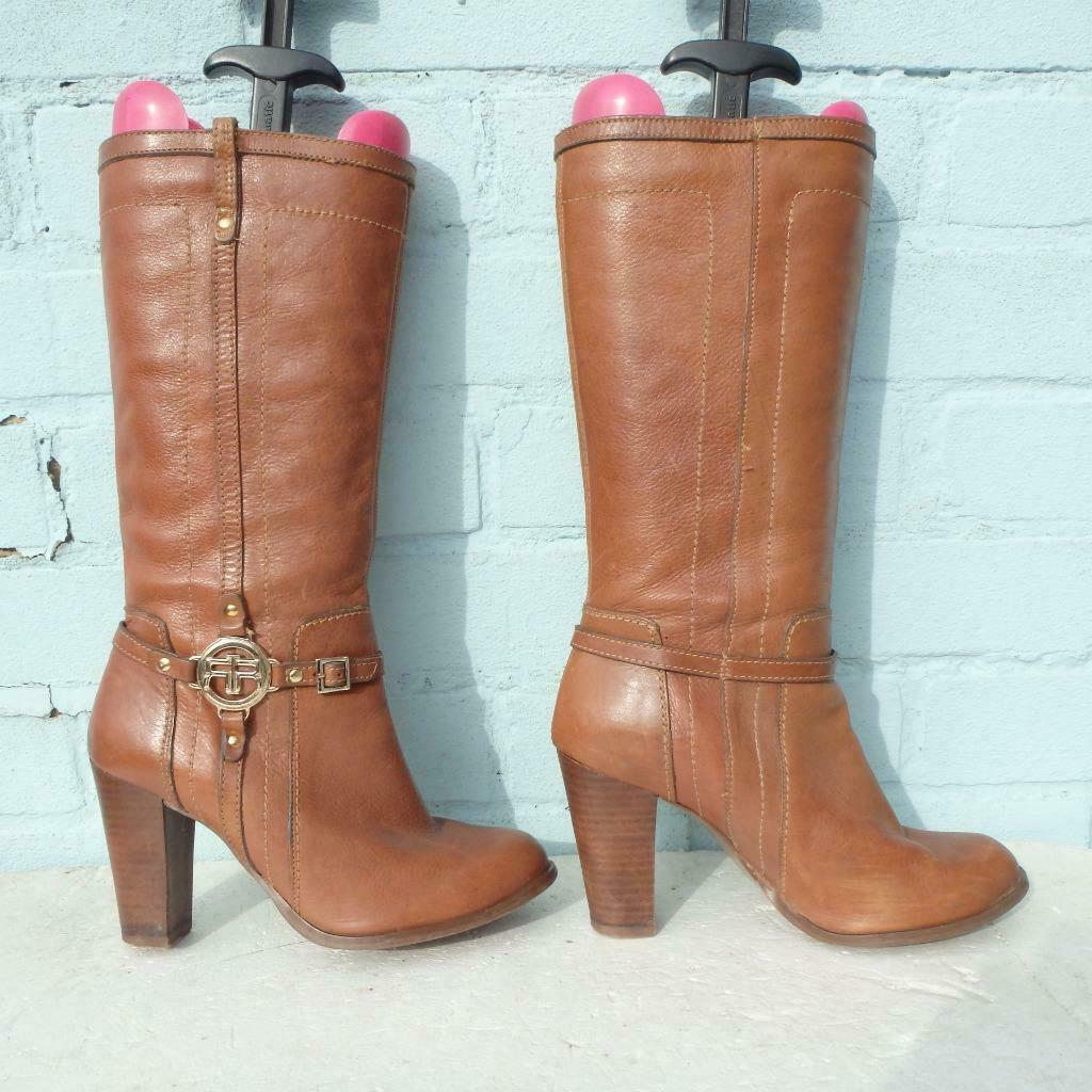 River Island Leather Boots Uk 6 Eur 39 Womens Ladies Pull on  RIR  Brown Boots