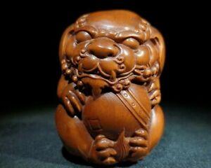 noble natural boxwood carved pi xiu wealth statue Netsuke decor figurine 有求必应