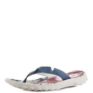 Da Uomo DUDE shoes SAVA TELA INCAS Rosso Comfort Infradito Taglia