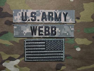 Us Army Ucp Name Tape Acu At Digital Uniform Klett Tab Patch Set Flagge Webb
