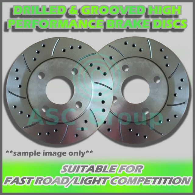 2x Front Drilled and Grooved 280mm 5 Stud Vented Performance Brake Discs Pair