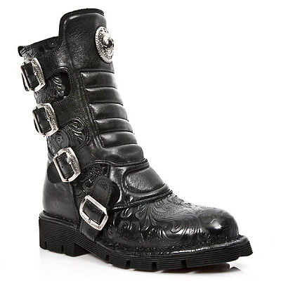NEWROCK New Rock 107-S5 Black Blue Skull Devil Leather Biker Goth Rock Boots