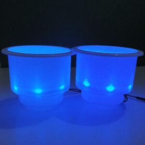 4PCS Black Plastic Cup Drink Holder With Blue 8LED Lights Boat Car Truck Camper