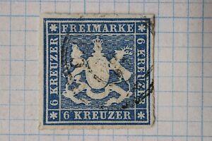 Germany-Wurttemberg-sc-43-Mi32c-6kr-cv-52-50-used-4-huge-margins-Very-Fine