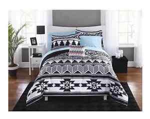 twin xl college girl aztec black white southwest style 6pc comforter bedding set ebay. Black Bedroom Furniture Sets. Home Design Ideas