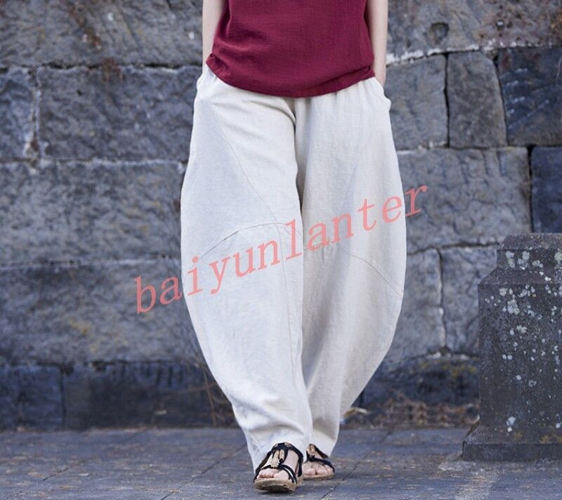 Ladies Loose Linen Blend Harem Pants Retro Wide Leg Elastic Waist Baggy Trousers