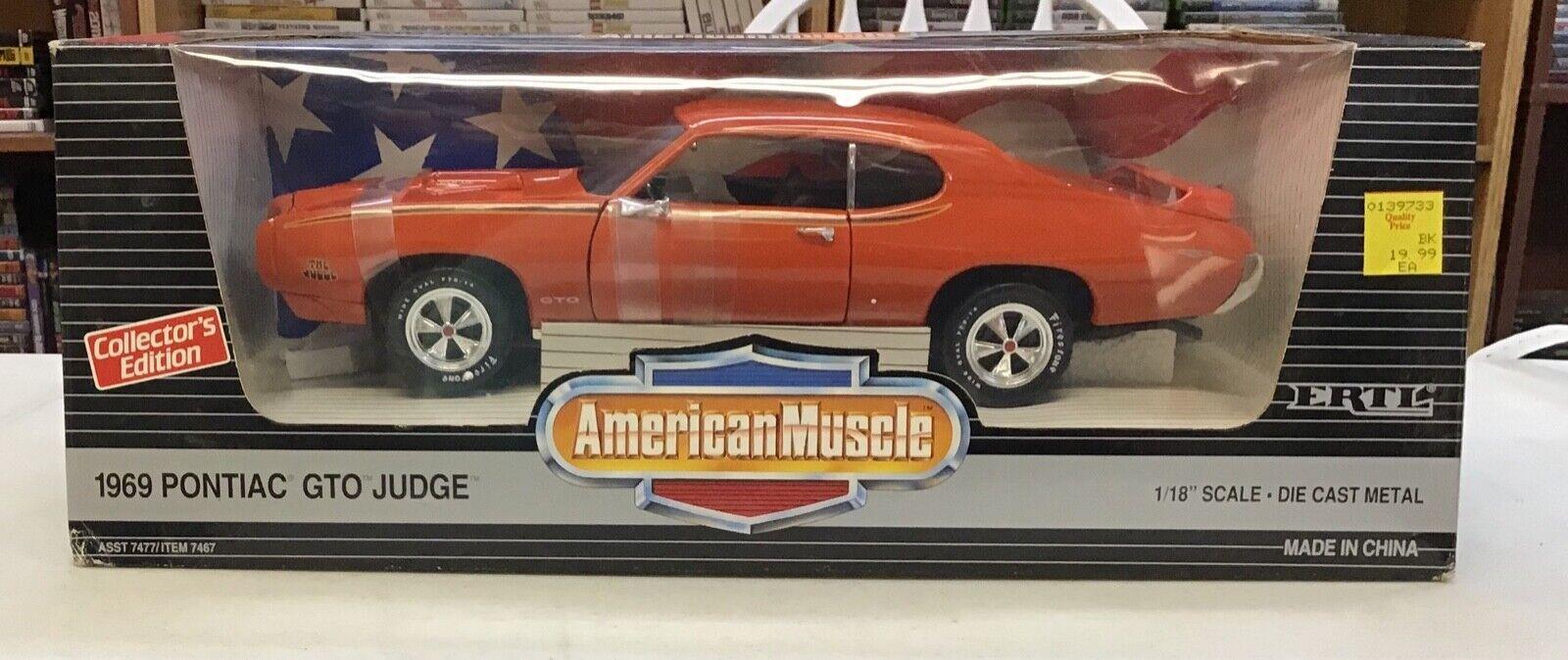 Escala 1 18 American Muscle Naranja Pontiac Gto Judge Diecast Coche Ertl