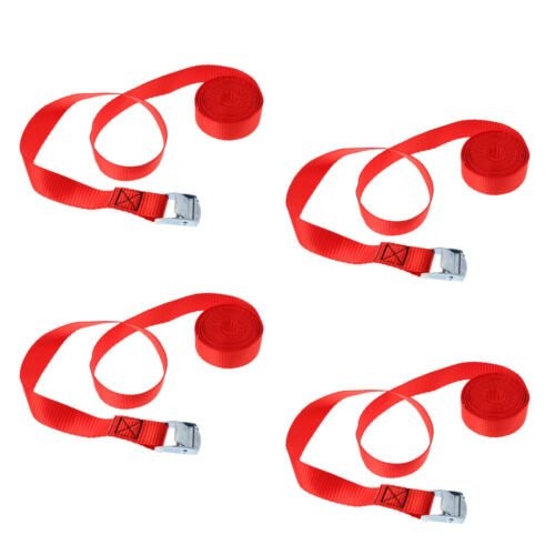 4Pcs Kayak Cam Buckle Tie Down Straps Roof Racks Trailers 2.5mx25mm Red