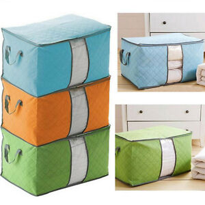 Clothes-Quilt-Blanket-Storage-Bag-Foldable-Organizer-Charcoal-Bamboo-Zipper-Box