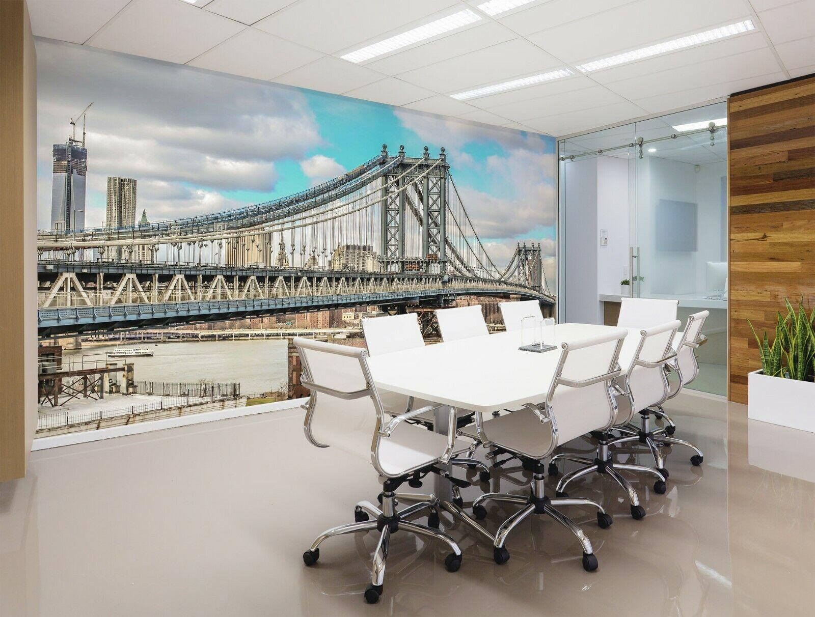 3D Stadt Brücke M80 Geschäft Tapete Wandgemälde Selbstklebend Handel An