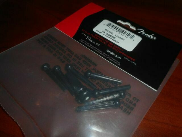 Fender Bridge Pin Set Black w//White Dot